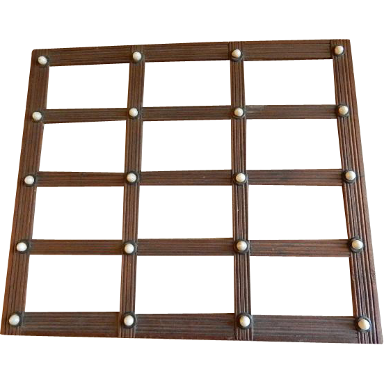 Victorian Walnut Sectional Picture Frame w/Porcelain Buttons - 12 photos