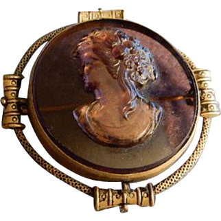 Victorian Early Formed Plastic Cameo Brooch in Gilt Metal Frame