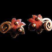 """""""Matisse"""" Copper & Enameled Oak Leaf Clip Earrings"""