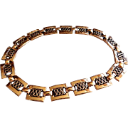 """Renior"" Copper Rectangular Reticulated Link Necklace"