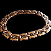 """Renior"" Copper Rectangular Reticulated Link Necklace"