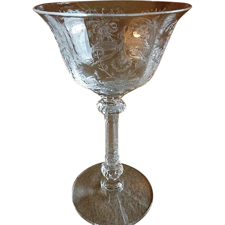 "Heisey Glass ""Orchid"" Pattern Sherbets - Stem #5025, Etch #507 - Set of 6"