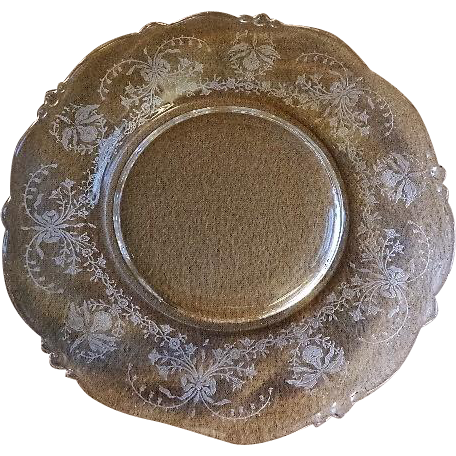 """Heisey Glass """"Orchid"""" Pattern Salad Plates - Waverly Blank #1519, Etch #507 - Set of 8"""