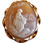 Victorian Shell Cameo Brooch - Lady Seated in a Garden Motif