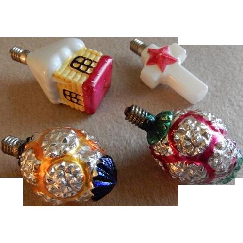 Group of (4) Milk Glass Figural Christmas Light Bulbs
