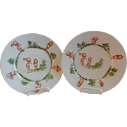 Rose O'Neill Wilson/Prussia Royal Rudolstadt - Pair of Kewpie Decorated Children's Plates
