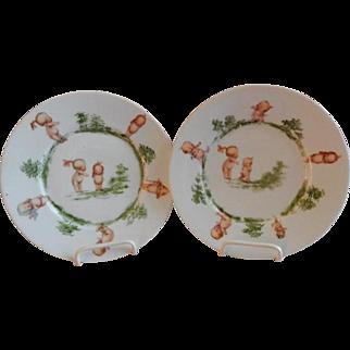 Rose O'Neill Wilson/Prussia Royal Rudolstadt - Pair of Kewpie Decorated Children's Plates