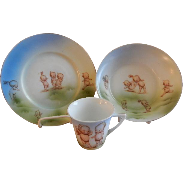 Rose O'Neill Wilson/Prussia Royal Rudolstadt - Kewpie Decorated Child's Plate/Bowl & Cup