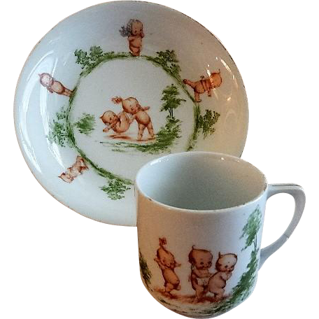 Rose O'Neill Wilson/Prussia Royal Rudolstadt - Kewpie Decorated Child's Bowl & Mug