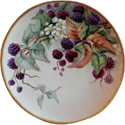 "Haviland Limoges Hand Painted ""Raspberries"" Motif Plate - Artist Signed"
