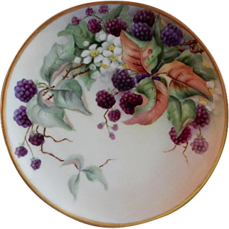 "Haviland Limoges Hand Painted ""Raspberries"" Motif Plate - Artist Signed"