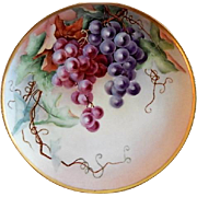 "Haviland Limoges Hand Painted ""Grapes"" Motif Plate - Artist Signed"
