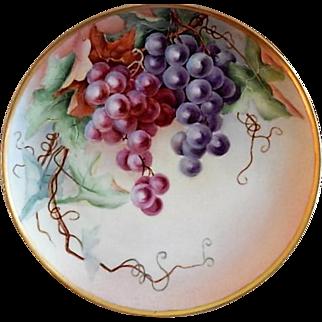"Haviland Limoges Hand Painted ""Grapes"" Motif Plate - Artist Signed"