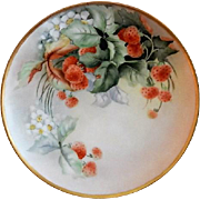 "Haviland Limoges Hand Painted ""Strawberries"" Motif Plate - Artist Signed"