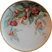 "Haviland Limoges Hand Painted ""Cherries"" Motif Plate - Artist Signed"
