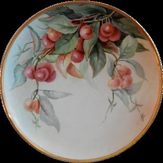 "Haviland Limoges Hand Painted ""Cherries"" Motif Plate - Artist Signed"