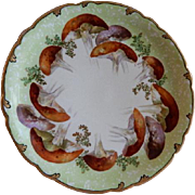 Jean Pouyat (JPL) Limoges Hand Painted Cabinet Plate w/Unique Mushroom Motif - Signed Emile