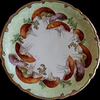 Jean Pouyat (JPL) Limoges Hand Painted Cabinet Plate w/Unique Mushroom Motif - Signed Emile