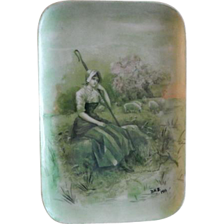 PL Limoges Hand Painted Scenic Pin Tray w/Lady Sheppard Tending Flock of Sheep