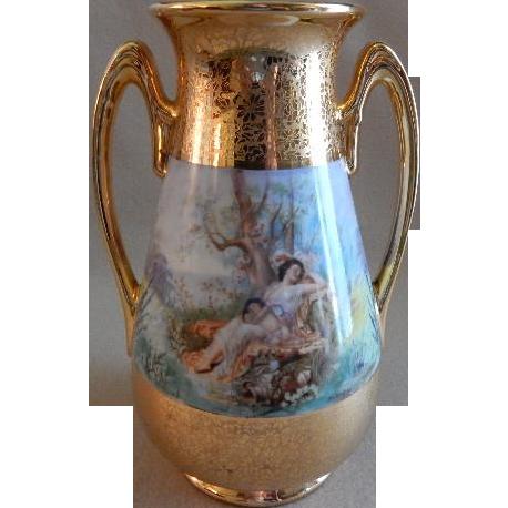 Osborne Studio Hand Painted Vase w/Scenic & AOG Decoration