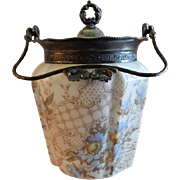 Unmarked Transfer Decorated Opal Ware Biscuit/Cracker Jar w/Silver Plated Fittings