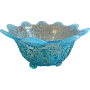"Northwood Blue Opalescent ""Pearl Flowers"" Pattern Footed Candy/Nut Bowl"