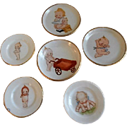 "Vintage ""Kewpie"" 6-Piece Group of Children's Dishes"