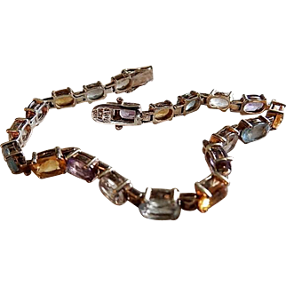 ALX Thai Sterling Silver Colored Gemstone Tennis Bracelet