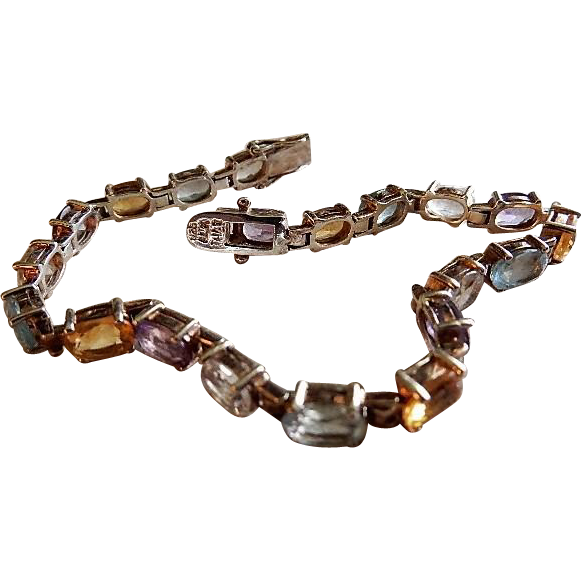 ALX Thai Sterling Silver Colored Gemstone Tennis Bracelet
