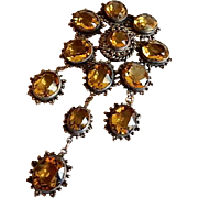 Leo Glass Company Colored Crystal Dangle-Design Brooch