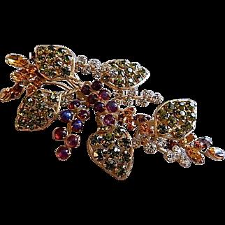 Juliana (DeLizza & Elster) Gold-Tone & Colored Gemstone Leaf & Berry Design