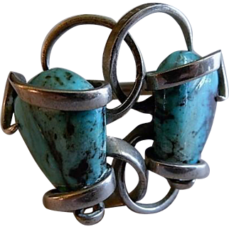 Hand-Crafted Silver & Turquoise Nugget Cuff Bracelet - Unique Style & Construction