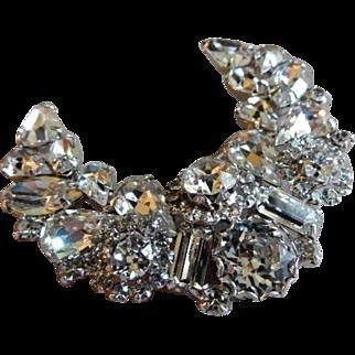 Weiss Crescent Silver-Tone Brooch w/Diamond Rhinestones