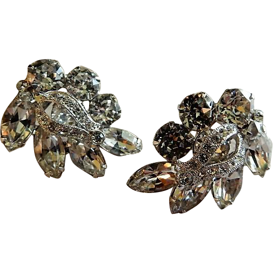 Eisenberg Diamond Rhinestone Cluster Clip-Style Earrings