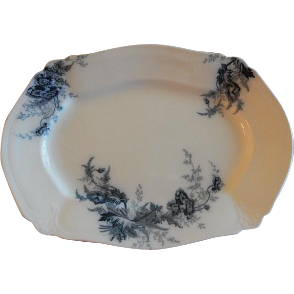 "Johnson Bros. Blue Transfer ""Paris"" Pattern Medium Platter"