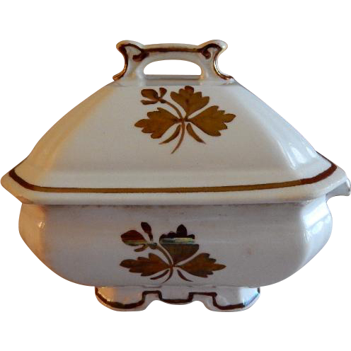 Alfred Meakin Ironstone Tea Leaf Covered Butter Dish w/Drainer