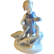 Gerold Porcelain Figurine - Young Girl Feeding Three Geese