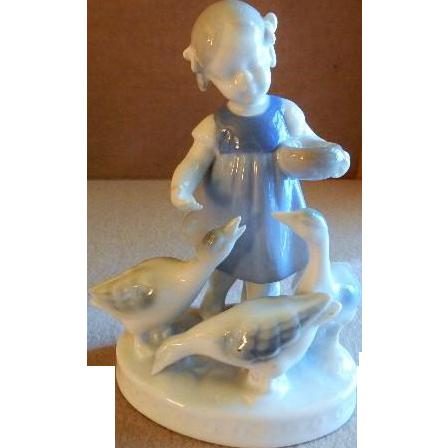 Gerold Porcelain Figurine - Young Girl Feeding Three Geese