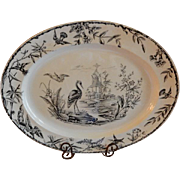 "Ridgway Black Transfer-ware ""Indus"" Aesthetic Pattern Large Oval Platter"