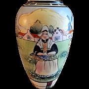 "Royal Nishiki Nippon Hand Painted ""Holland"" Scenic Vase"