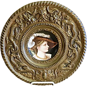 Victorian Hand Painted Portrait Plate German/French Noble Lady in Brass Frame