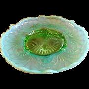 "Jefferson Glass ""Tokoyo"" Pattern Green Opalescent Footed Plate w/Raised Edge"