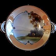 Noritake Japan Hand Painted Serving Bowl w/Scenic Country Motif