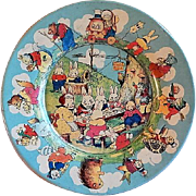 "Tindeco ""Peter Rabbit's Radio Party"" Lithograph Tin Easter Plate"