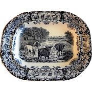 "Wedgwood & Co (Ltd) Blue Transfer-Ware ""Horned Cattle"" Motif Serving Platter"