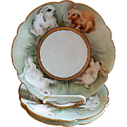 Limoges France Hand Painted Cabinet Plate Decorated w/Bunny Rabbits