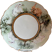 Limoges France Hand Painted Charger Plate Decorated w/Bunny Rabbits