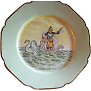 Charles Haviland Hand Painted Cabinet Plate w/Medieval Swan Knight Motif - 3 of 7