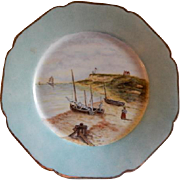 Charles Haviland Hand Painted Cabinet Plate w/Craggy Shoreline & Fishing Boats Motif - 7 of 7