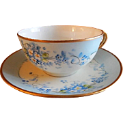 "Stouffer Studio Hand Painted Porcelain ""Forget-Me-Not"" Pattern Tea Cup & Saucer"